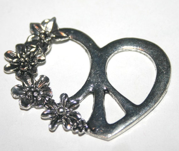 4 Burned Silver Peace Sign Heart Charms with Flowers - 49mm x 43mm x 5mm