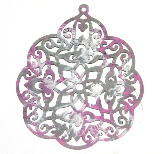 Faux Patina, Hand Painted Sage, Pink and White, Large Vintage Style Antique Bronze Filigree Flower Charms  - 6 Pieces - 58mm x 48mm