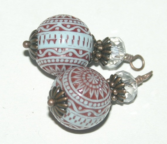 Wire Wrapped Copper, Glass and Lucite Vintage Style Charms, Earring Supplies - 4 Pieces