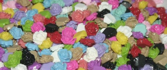 Flower Cabochon - 13mm - Rose - 150 pieces (13 colors), Random Mixed Colors - Resin