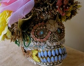 DAY of the DEAD Grinning Sugar Skull Lady Art Sculpture Vintage Assemblage Collectible Repurposed Jewels Pink Rose Hat One of a Kind ooak