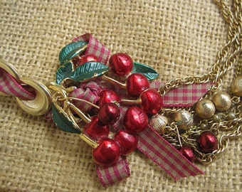 CHERRY CHERIE BABY: Cherries Necklace Vintage Assemblage Pin Up Girl Ripe Red Cherries and Checked Gingham Statement  One of a Kind ooak