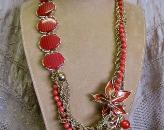 Woodland Sunset: Statement Necklace Vintage Assemblage Persimmon Moonglow Leaves Bold Long Avant Garde One of a Kind ooak