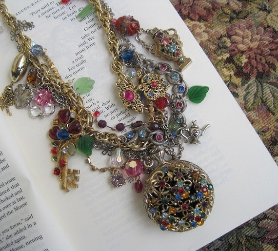 Alice is Still on My Mind: Tangled Jeweled Madness in Wonderland Vintage Assemblage Necklace