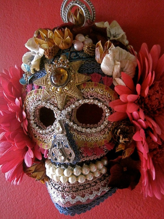 on hold for the royal toad-  Bonita en Rosa DAY of the DEAD Sugar Skull MASK Wall Art Home Decor