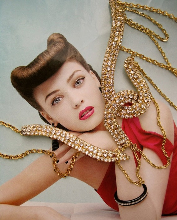 Go For the Throat:  Modernist Rhinestone Tentacle Necklace Vintage Assemblage Statement Rhinestone Necklace One of a Kind ooak