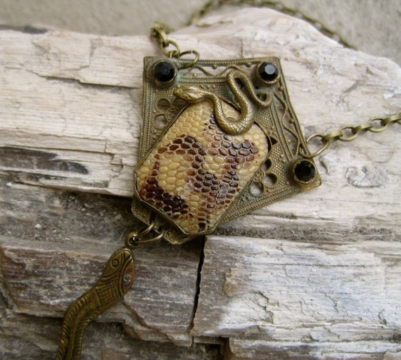 Victorian Snakeskin Necklace: Figural Vintage Assemblage STEAMPUNK Slither into My Heart