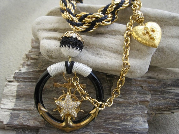 Romance on the High Seas: Nautical Necklace Anchor and Heart Locket Vintage Assemblage Necklace Black White and Gold with Rope