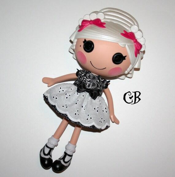 Black Eyelet Lace Dress for Lalaloopsy Dolls // Ready to Ship