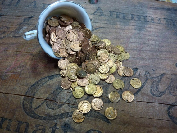 Vintage Small Brass Metal Coins