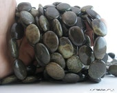 FULL STRAND Apple Stone 20x15 mm Flat Oval Gemstone Beads G24