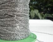 1000 Feet (1.5 x 2 mm) Silver Tone Brass Soldered Chain - Y005  ( Z015 )