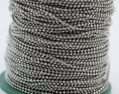 10 Meters - 33 feet 1.5 mm Silver Tone Brass Faceted Ball Chain - W71