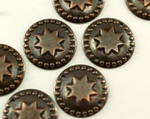 15 pcs  Antique Copper Brass Star Round Charms Findings (20 mm) pen 411