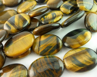 Tiger eye 25x18 mm Gemstone Oval Beads 15.5 inches T016