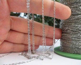 5 Meters - 16.5 Feet (1.5 X 2 Mm) Silver Tone Brass Soldered Chain - Y005  ( Z015 )