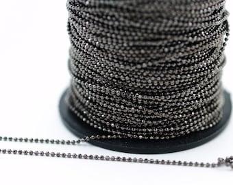 Gunmetal Chain, 5 Meters 16.5 Feet (1.5mm) Gunmetal Brass Faceted Ball Chain - W74 ( Z035 )