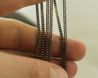 Black Antique Brass, 100 Meters - 330 Feet (2x2.5mm) Black Antique Brass Sparkle Bright Faceted Soldered Curb Chain - Z061