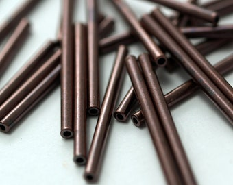 50 Copper Tube Spacer Beads 30x2 Mm  K188