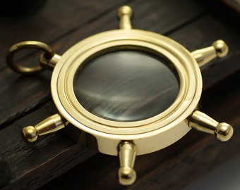 1 Solid Brass Wheel Magnify Glass  L01