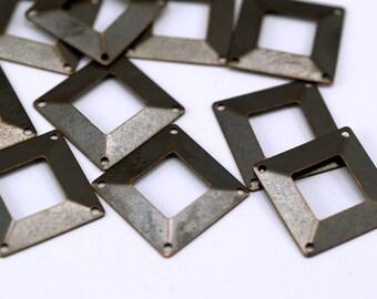 12 Pcs Antique Brass Square Middle Hole Connectors 4 Holes  (20 X 20 Mm) Pen 670