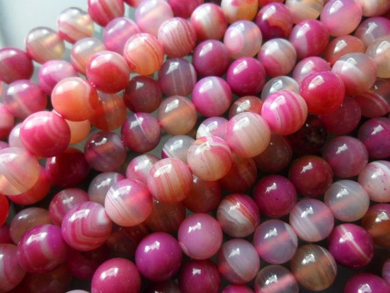 Pink Striped Agate 8 mm Round Gemstone Round Beads 15.5 inches Full Strand