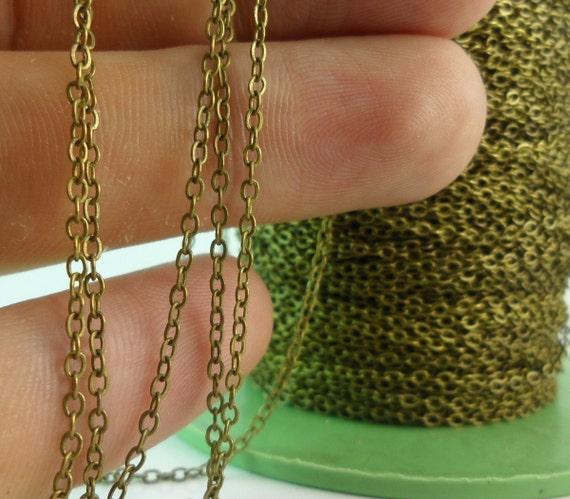10 Meters - 33 Feet (1.5 X 2 Mm) Antique Bronze Tone Brass Soldered Chain - Y006 ( Z028 )
