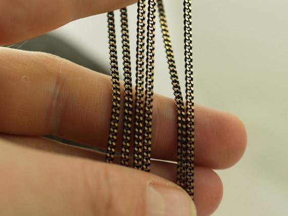 Black Sparkle Bright, 10 Meters - 33 Feet (2x2.5mm) Black Antique Brass Sparkle Bright Faceted Soldered Curb Chain - Z061