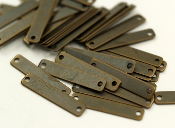 100 Pcs Antique Brass Rectangle 2 Holes Connector Charms Geometric Findings  (20x4 Mm)   K133