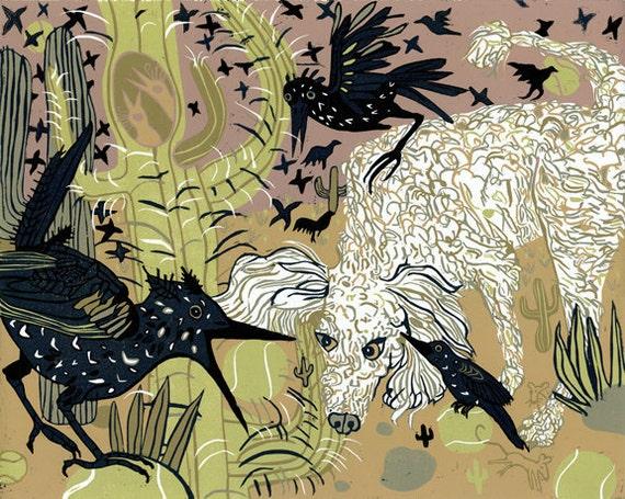 Original Woodcut about Starlings, poodles, tennis balls and saguaros.