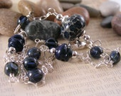 Navy Blue Lampwork Necklace, Beach Pebble Necklace, Lampwork Glass Necklace, Czech Glass, Handwrapped Sterling Silver Necklace