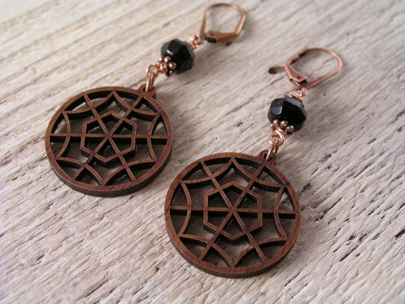 Walnut Wood Web, Black Onyx, and Antique Copper Earrings, October Earrings, Halloween Earrings, Into the Copper Web Earrings