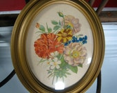 3 Flower Prints with curved glass and frame vintage