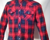 Plaid Shirt Mens Vintage Red Dark Green Black