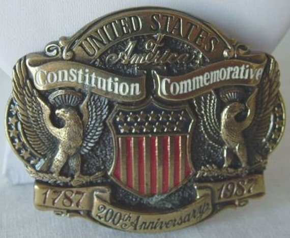 Vintage United States of America CONSTITUTION COMMEMORATIVE 1787-1987 200th Anniversary USA Numbered LTD EDITION Brass Enamel Belt Buckle From THE GREAT AMERICAN BUCKLE COMPANY