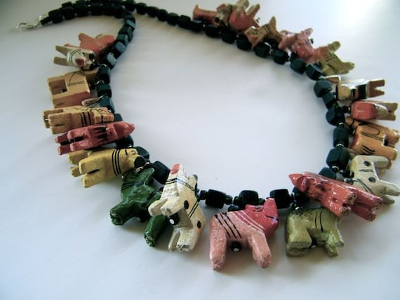 whimsy wooden animal necklace - 25 inch