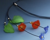 Lucite Leaf and Flower Choker In Orange, Blue and Green of Adjustable Lenght