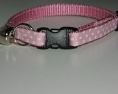 Kitten or Cat Collar with Break Away Buckle - Pink and White Polka Dots