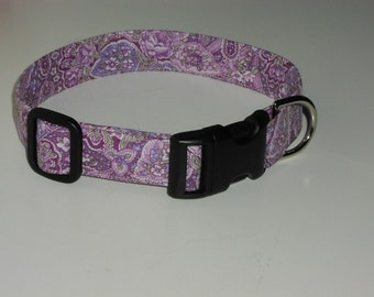 Purple Paisley Fabric Dog Collar - Purple Paisley