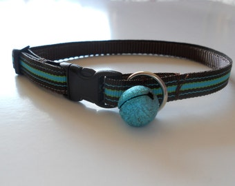 Cat Collar - Chocolate Brown with Aqua Stripes