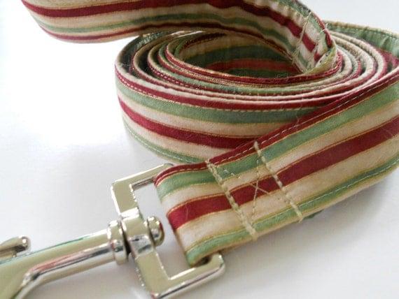 Fabric Dog Leash - Multicolored Stripes