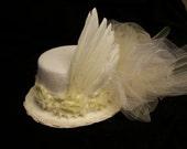 OOAK victorian steampunk riding hat mini top hat ,wedding. Offwhite  hat.