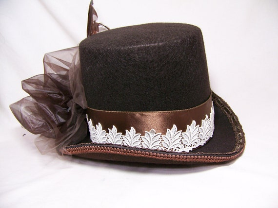 OOAK victorian steampunk riding hat full size TOP HAT cosplay Costume brown