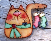 Kitty with Stockings Ornament