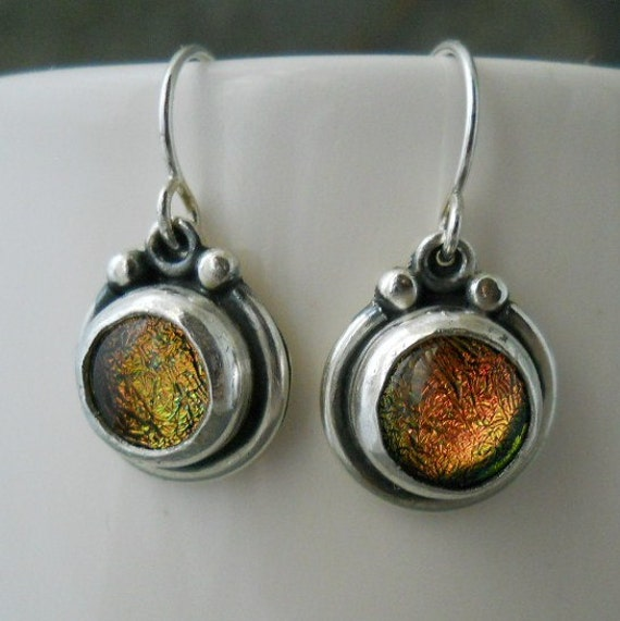 peach/ gold glass and sterling silver earrings, sparkly, dichroic glass
