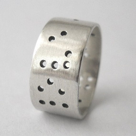 braille ring, secret message, sterling silver, size 7, hand crafted, mens ring, womens ring, personalize it