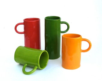 colorful porcelain hand built cups.   drinks for 4.   demitasse.   espresso.