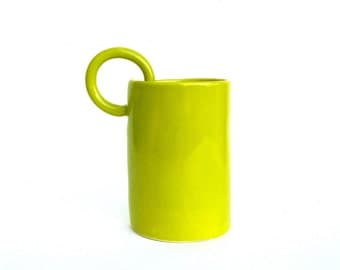 whimsical and unusual hand built  porcelain cup   ...   chartreuse