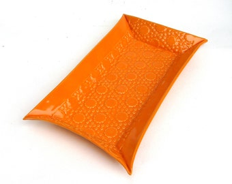 festive retro  hand built porcelain tray ... orange
