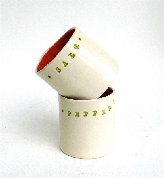 please pass the salt ...  hand built porcelain salt and pepper cellars ... vessels